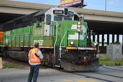 BNSF Hodg 75th St 26 (7-6-11) (eyepilot13) Tags: railroad trains bnsf locomotives tankcars hodgkins 3148 75thstreet gp50 switchingtankcars