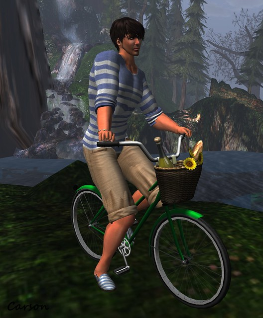 NSD Sailors Top & Tour Boas Shorts   --  Fir & Mina - Twine Shoes   --  What Next Summertime Bicycle Pose Prop