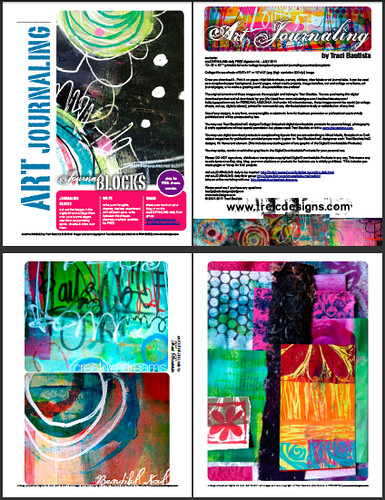 sample pages of FREE ART journaling digital kit