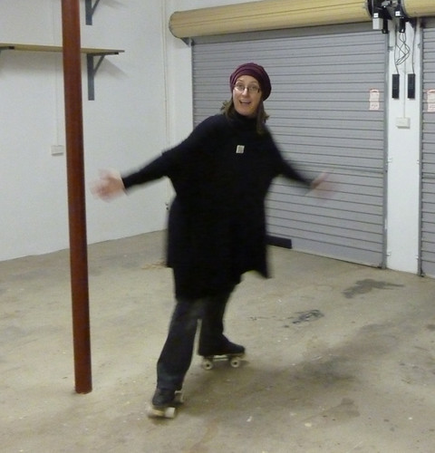 Rollerskating in the studio