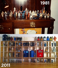 30 years (and counting) of setting my toys up for photo ops... (jjm3) Tags: toys actionfigures shelves shadowboxes characteroptions kenner starwars doctorwho startrek furuta starfleet mst3k tomservo tardis tardises axon desk daleks helper 1981 2011 11doctors sonicscrewdrivers theempirestrikesback k9