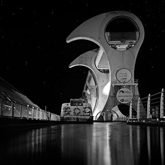 WELCOME TO... (kenny barker) Tags: longexposure bw monochrome night dark stars scotland canal engineering panasonic scifi g1 barge falkirk falkirkwheel saariysqualitypictures inspiredchoice