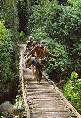 Raft porters on a bridge