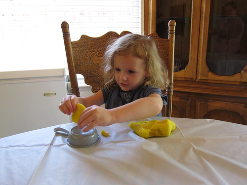 Livi playing with homemade playdough