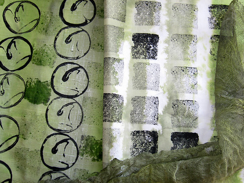 Stamping on fabric by Quilt Routes