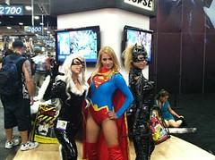 Black Cat, Supergirl and Catwoman (CallaLady) Tags: new ladies girls black hot sexy cat kyle comics tim dc san comic cosplay bad diego international supergirl marvel reboot relaunch catwoman con burton hardy 52 selina villainess sdcc felica 2011 antihero