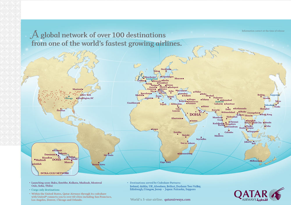 Qatar Airways Route Map | Five Star Alliance