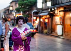 Geiko in Gion District, Kyoto, Japan (Baron Reznik) Tags: japan kyoto artist traditional makeup geiko jp geisha   entertainer kimono redlipstick gion hdr     whitemakeup nagajuban performingartist canon50mmf12l