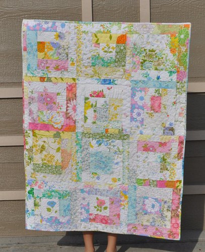 vintage sheet log cabin quilt