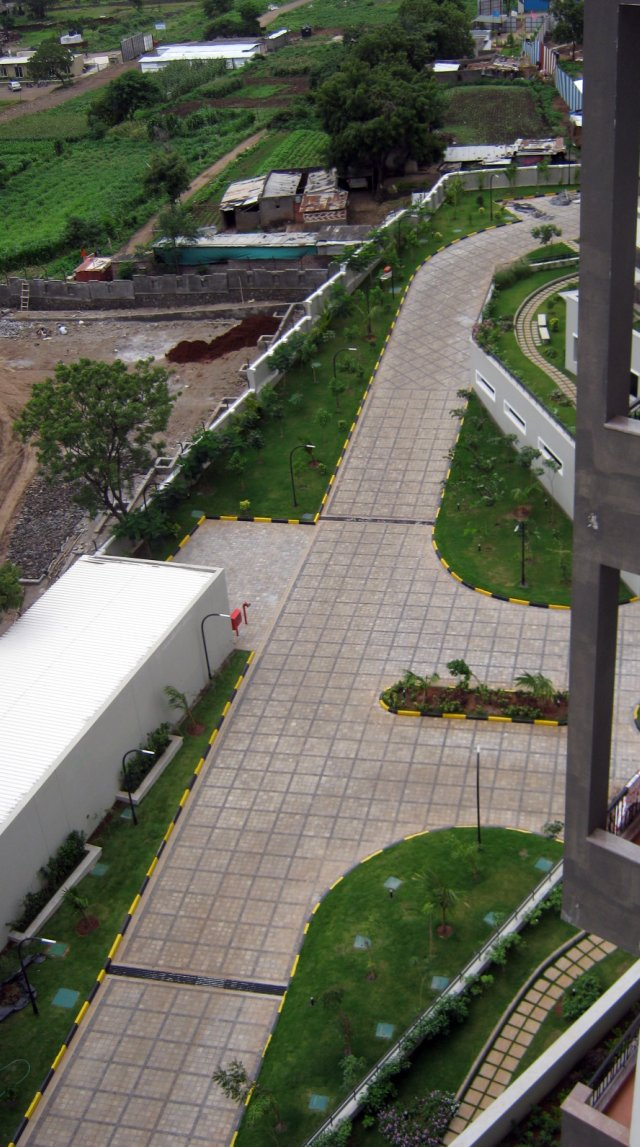 "Driveway from a Penthouse at Sobha Carnation - on the day of launch of ""Sobha Garnet - 3 BHK & 4 BHK Flats"" - off NIBM Road -  at Kondhwa - Pune-640"