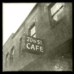 Cafe (pam's pics-) Tags: urban bw food restaurant cafe colorado downtown diner denver co iphone pammorris pamspics hipsta appleiphone iphone4 mobilephonephotography hipstamatic scratchcam