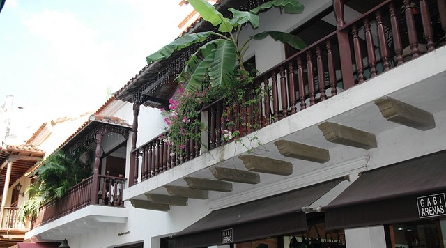 House fronts and balconies in UNESCO World Heritage-listed Cartagena