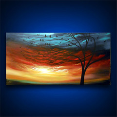 Home Sweet Home (MatthewHamblen) Tags: art painting original whimsical abstract metallic gold cloud sunset fantasy surreal glow acrylic dream dreamscape wall home decor landscape silhouette tree bird rainbow