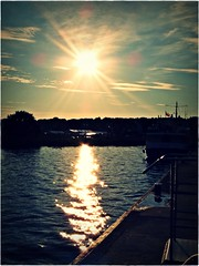 (Violen's photography) Tags: sunset sun reflection water port dark harbour poland polska lagoon glowing woda vistula soce zachd krynica morska zalew kartpostal wilany