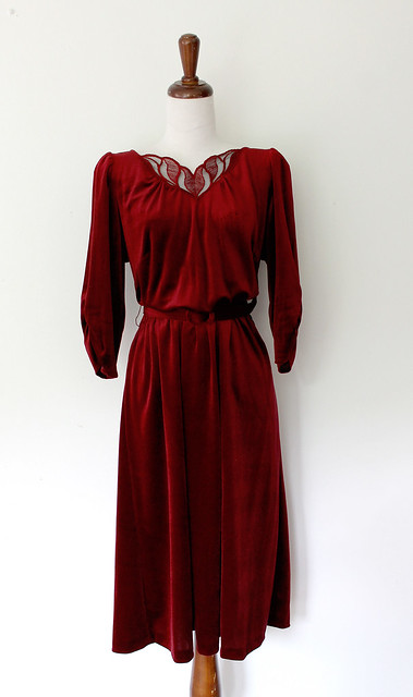 Blood Red Puff Sleeve Velvet Dress, vintage 1970s