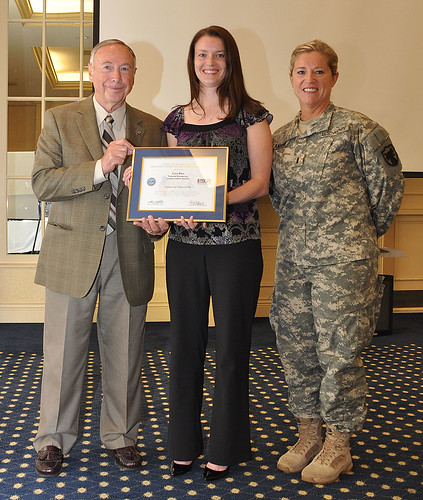 Left to right, retired Maj. Gen. Daniel F. Hitchcock, Patriot Award recipient Lisa Rice, and 1st Lt. Lorrie Lanham, NRCS Business Management Leaders Program (BMLP) trainee.