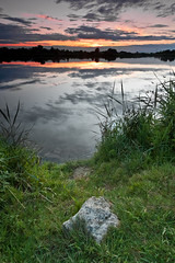 Silence (BK.DE) Tags: sunset lake reflection stone clouds see abend sonnenuntergang wolken stein reflextion