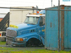 photo by secret squirrel (secret squirrel6) Tags: broken fence tipper crash accident transport container bumper sterling grille bonnet towing lean gippsland axle gunns ruralaustralia morwell maladys secretsquirrel6truckphotos