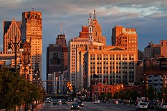 The Heart of Detroit (mgsmith) Tags: city sunset urban usa building art architecture skyscraper geotagged us downtown michigan detroit artdeco foxtheater deco woodwardavenue brodericktower hockeytown 2011 davidbroderickbuilding davidbroderick tourdetroit detroittour