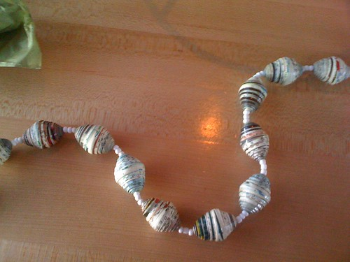 Recycled Magazine Bead Necklace