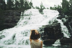(heddaselder) Tags: blue summer vacation portrait mountain nature girl beauty norway self river hair neck waterfall back looking flood adventure human page powerfull