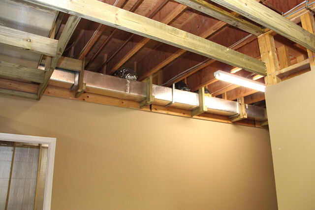 box beam ceiling basement