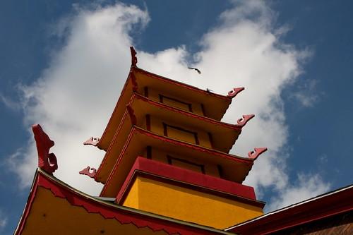 Pagoda detail. Buu Mon Buddhist Temple, Port Arthur, TX