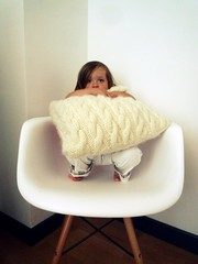 share your chair (nicouze) Tags: portrait white girl children chair child charles eames enfant fille blanc chaise laine coussin