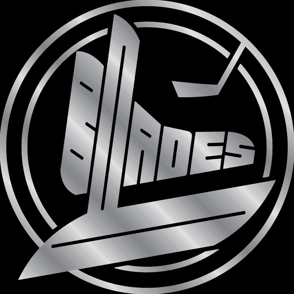 Blades Metal Puck Logo