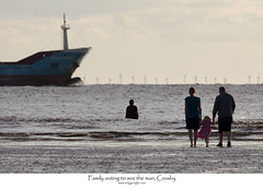 Family outing to see the man, Crosby (Ianmoran1970) Tags: sea sky cloud beach wet water statue canon river boat sand ship wind wave ironman windfarm crosby anotherplace ironmen ianmoran ianmoran1970
