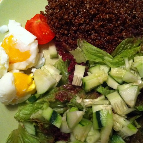 red quinoa, red leaf and cucumber salad with soft eggs