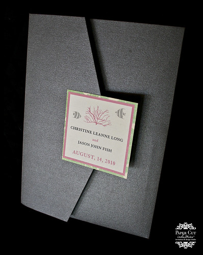 Grey Pink and green coral wedding invitation