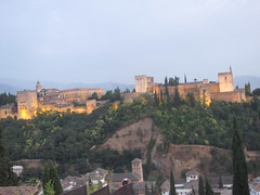 alhambra at dusk (danielnanreik) Tags: sunset white mountain black color tree castle night river spain catholic south muslim seville andalucia spanish alhambra granada moor fortress medievial