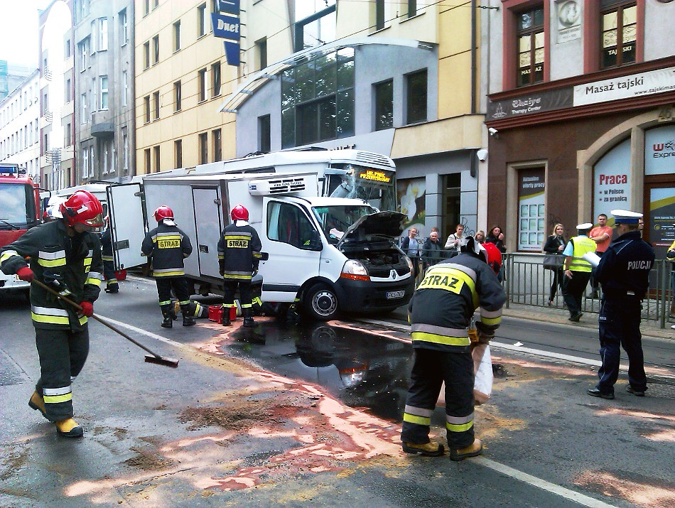 Zderzenie samochodu z tramwajem, Wrocław, ul. Św. Mikołaja