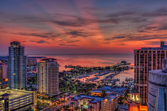 Balcony View of St Pete Sunrise (Photomatt28) Tags: water night clouds sunrise stpetersburg pier florida cloudy nik condos hdr topaz stpetersburgpier photomatix stpetepier stpetemarina