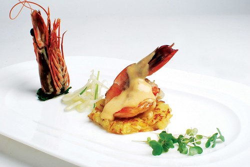 Pan fried Giant Prawns with Poire Williams-Vanilla Sabayon and Roesti Potatoes