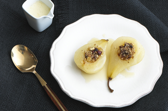Gingered Pears in a Pool of Honeyed, Vanilla Custard