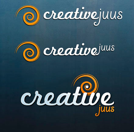 Draft versions of the spiral logo