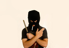 Its a Religion (Mike Knapek) Tags: white black gun cigarette knife bling pimp balaclava homie killler