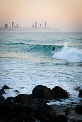 Surfing Towards Surfers (Steven Johnson Photography) Tags: beach sunrise dawn surf waves surfer surfing goldcoast burleighheads