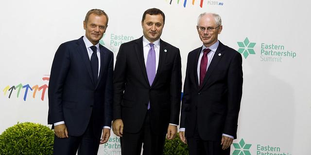Polish Prime Minister Donald Tusk and President Van Rompuy welcome Mr Vlad Filat, Prime Minister of Moldova 29 September 2011