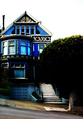 Blue Victorian Home in Pacific Heights - San Francisco (Blue Rave) Tags: angles building hills trees victorianhomes stairs sanfrancisco california sf stairway thecolorblue colors colours color colour architecture blue iphonephotography iphoneography mostinteresting mostinterestingvol1