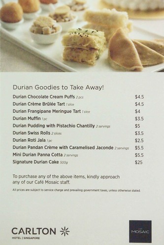 Durian Desserts for Take-Away 2011