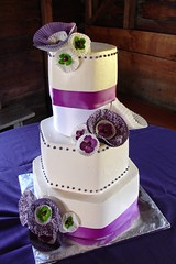 Wedding cake with hexagon tiers and paper flower accents (Herbert Harper) Tags: wedding white green cake paper montana bozeman purple chocolate ribbon dots buttercream heaxagon