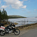 Africa Twin on the road south from North cape
