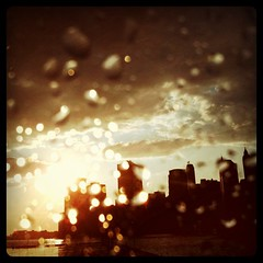 Rainy sunset from cab window
