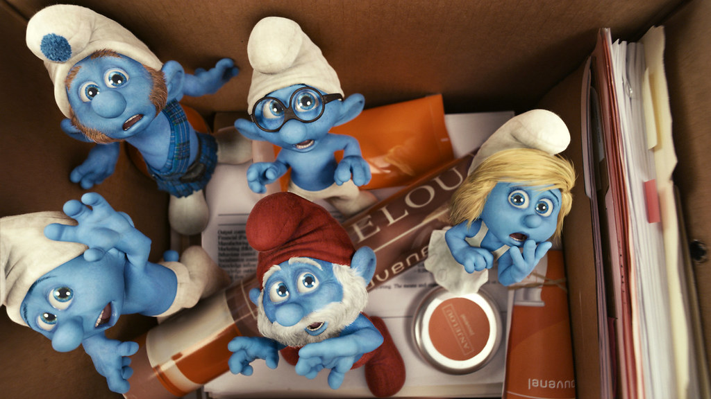 Grouchy, Gutsy, Brainy, Papa and Smurfette Smurf
