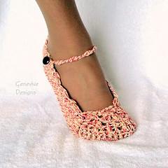 Skinny Flats Crochet Pattern (Genevive_Too) Tags: ballet shoes patterns crochet etsy genevive slippers tutorial artfire ravelry