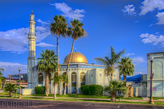 Islamic Community Center, Tempe Masjid (Jim Purcell) Tags: lighting summer arizona usa sunlight phoenix sunshine horizontal digital photoshop outside religious education worship afternoon exterior pentax zoom minaret islam prayer religion az mosque multipleexposure photograph dome knowledge asu summertime dslr hdr highdynamicrange instruction masjid tempe islamic topaz lightroom arizonastateuniversity horizontals selfimprovement maricopacounty photomatix photomechanic edification tonemapping tucsonphotographer pentaxk5 smcpentaxda1650mm28edalifsdm