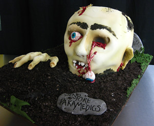 Sculpted Zombie Head Cake